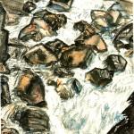 水彩・山の小川1911