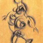 素描・ゆっくり歩く女性1918