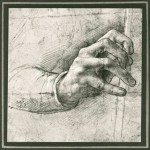 Da Vinci study of a hand sketch