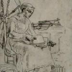 GR167 - Jean-François Millet - 1814-1875 - Woman Carding Wool - ca 1855