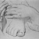 "graphic 5 Study of Hands and Feet for ""The Golden Age,"" (1862), graphite on paper"