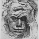 kollwitz-self-portrait-with-hand-on-brow-etching-1910