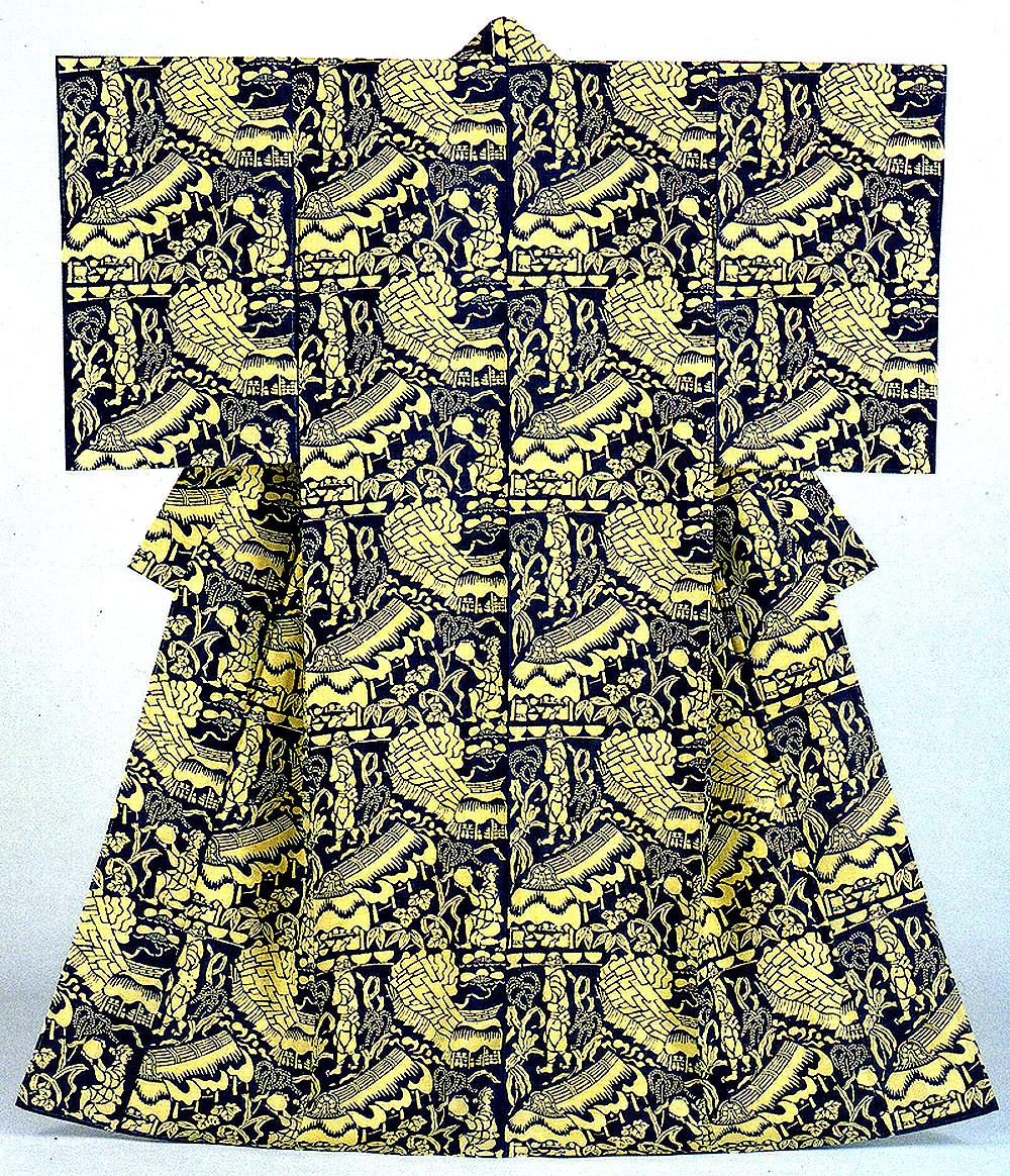 紬地型絵染-1950年-155.0×127.0